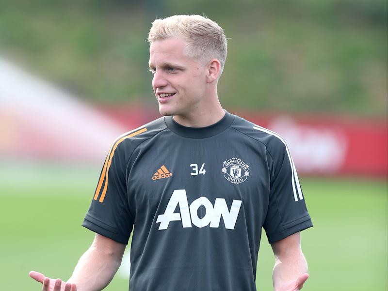 Manchester United's new signing Donny van de BeekManchester United via Getty Images