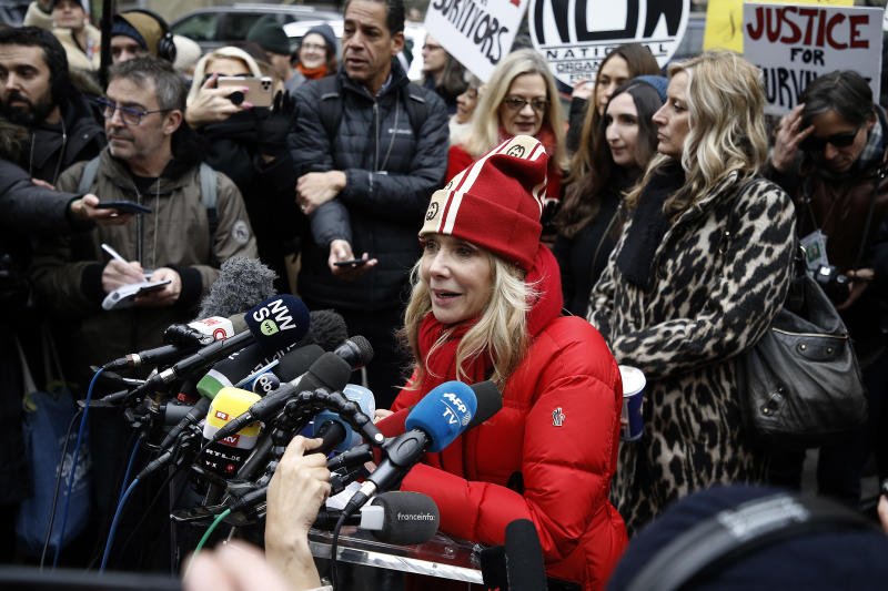 Rosanna Arquette speaks at a press conference on the first day in Harvey Weinstein's court. (Photo by John Lamparski / Echoes Wire / Barcroft Media via Getty Images)
