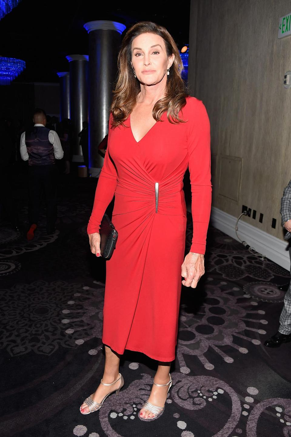 """<p>Is red Caitlyn Jenner's color? It sure looks like it! The reality star turned up at the GLAAD Media Awards in a midi-length dress with ruching. She even matched her mani and pedi to the look and accessorized with a black clutch and silver heels. In addition to receiving an award for best reality show for <i>I Am Cait</i>, news also broke that she'll be appearing in the next season of Amazon's <i>Transparent. </i>The show's director, Jill Soloway, called the casting """"a dream come true.""""<i> (Photo: Getty Images)</i></p>"""