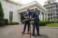 House Minority Leader Kevin McCarthy of Calif., left, and Senate Minority Leader Mitch McConnell of Ky., arrive to speak to reporters outside the White House after a meeting with President Joe Biden, Wednesday, May 12, 2021, in Washington. (AP Photo/Evan Vucci)