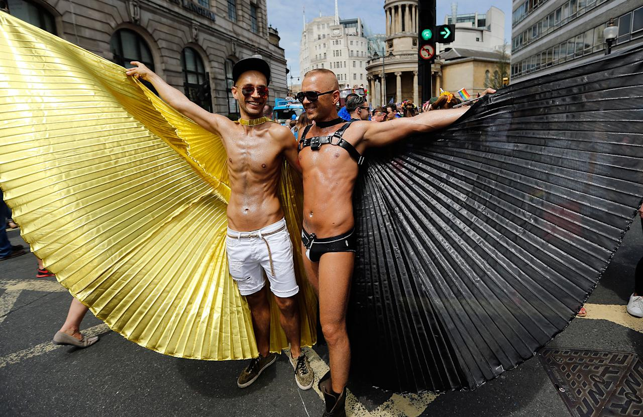 <p>Revelers enjoy the Pride London Parade in London, Saturday, July 8, 2017. (Photo: Frank Augstein/AP) </p>