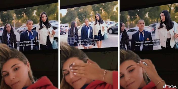 """Screenshots of Olivia Jade Giannulli reacting to a TV with """"Gossip Girl"""" playing in background"""