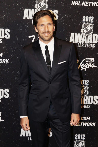 New York Rangers goalie Henrik Lundqvist poses for a photo before the NHL Awards, Wednesday, June 20, 2012, in Las Vegas. Lundqvist won the Vezina Award as the season's best goalie. (AP Photo/Julie Jacobson)