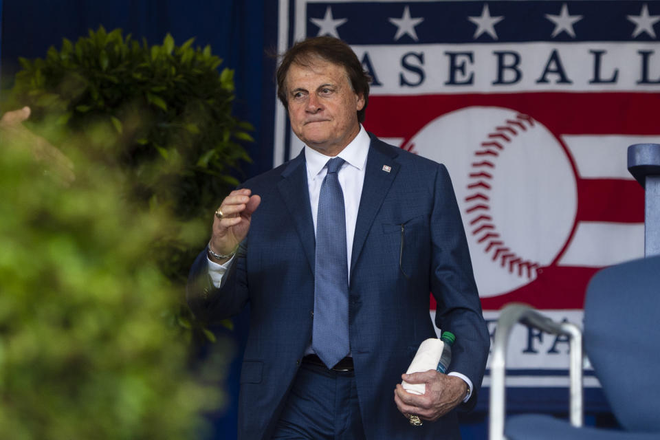 Tony La Russa at the 2019 National Baseball Hall of Fame induction ceremony. (Gregory J. Fisher-USA TODAY Sports)