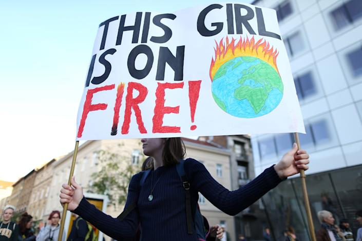 A girl holds a banner during climate change demonstration in Zagreb, Croatia, September 20, 2019. (Photo: Antonio Bronic/Reuters)