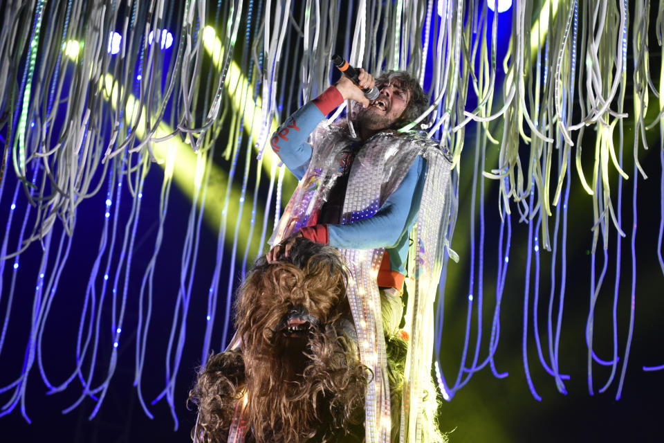 Wayne Coyne of the Flaming Lips performs at Riot Fest & Carnival at Douglas Park on Friday, Sept. 16, 2016, in Chicago. (Photo by Rob Grabowski/Invision/AP)