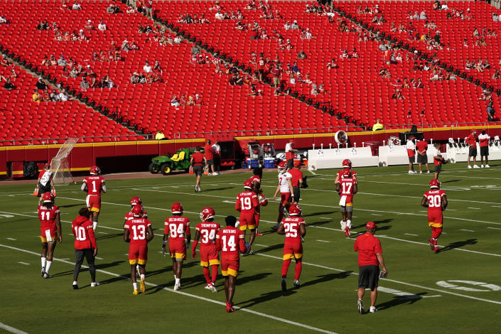 About 2,000 season-ticket holders showed up to Arrowhead Stadium for a Chiefs practice on Saturday morning. (Charlie Riedel/AP)
