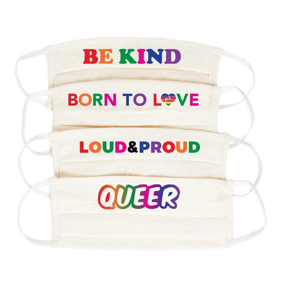 "<p>The Phluid Project Pride Face Mask comes in a set of four, with each one repping a different Pride-inspired phrase in rainbow lettering. They're available in black and white, and are made with 100 percent cotton in Los Angeles.</p> <p><strong>$50 for 4</strong> (<a href=""https://thephluidproject.com/collections/bag/products/copy-of-tpp-presale-pride-face-mask-4-pack"" rel=""nofollow noopener"" target=""_blank"" data-ylk=""slk:Shop Now"" class=""link rapid-noclick-resp"">Shop Now</a>)</p>"