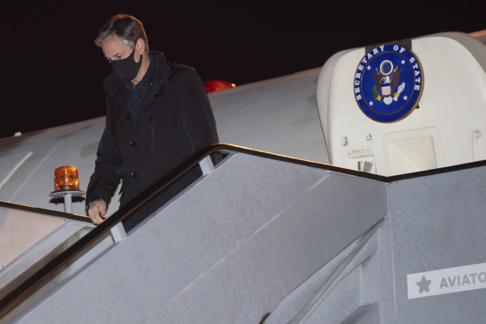 U.S. Secretary of State Antony Blinken disembarks from his airplane upon arrival at Copenhagen Airport in Copenhagen, Denmark, Sunday, May 16, 2021, on his first stop on a five-day European tour. (Saul Loeb/Pool Photo via AP)