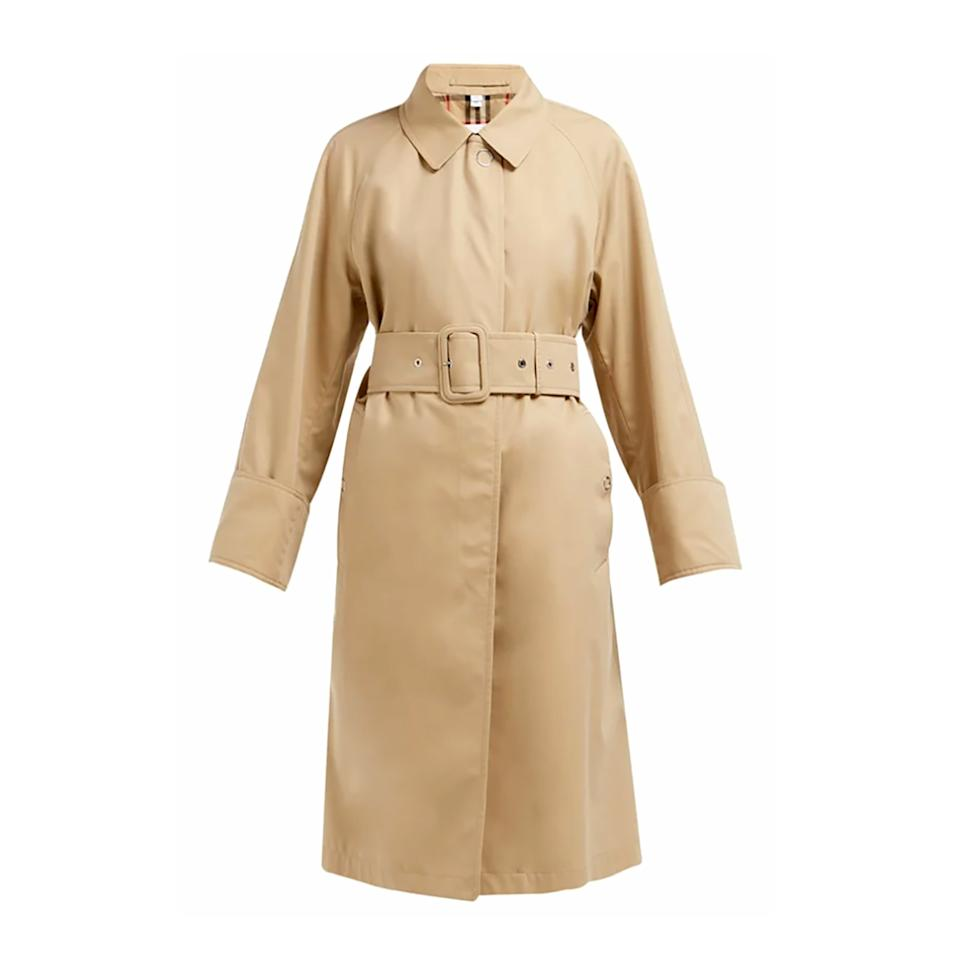 """<p>There is nothing more classic than a Burberry trench, and now the label has updated its iconic coat with ultra-chic exaggerated cuffs.</p> <p><strong>Buy Now:</strong> Burberry jacket, $2,390. <a href=""""https://www.matchesfashion.com/us/products/Burberry-Single-breasted-cotton-gabardine-trench-coat-1267165"""">matchesfashion.com</a>.</p>"""
