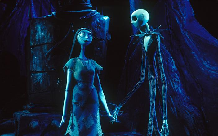 "Sally and Jack in a scene from Tim Burton's ""The Nightmare Before Christmas."" <span class=""copyright"">(Walt Disney Pictures)</span>"