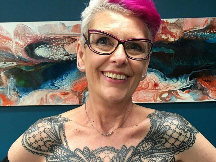 Sue Cook marked five years of being cancer-free with a bold mastectomy tattoo. (Photo: Sue Cook)