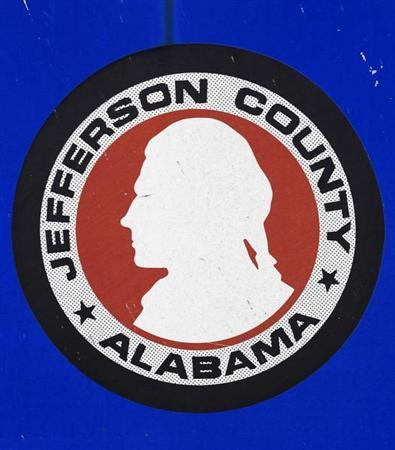 The Jefferson County, Alabama logo is seen on a sign in the county