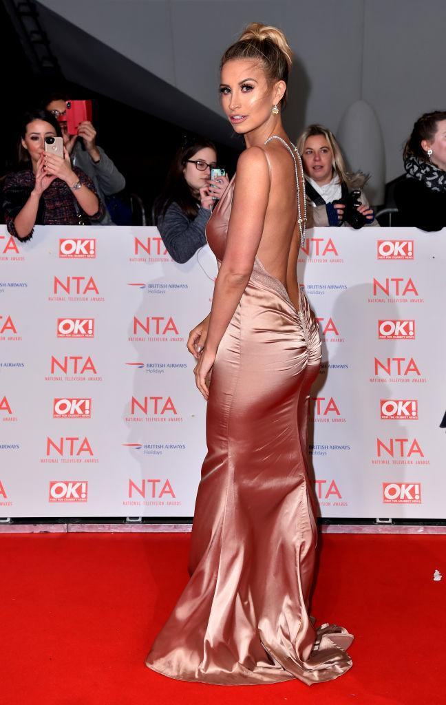 <p>Ferne McCann made her red carpet comeback in a sleek backless gown by Naked Dresses. <em>[Photo: Getty]</em> </p>