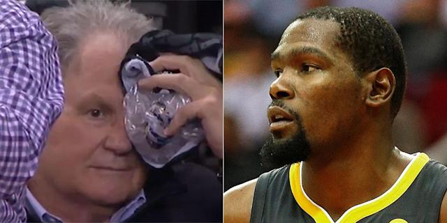 Joseph Franzia needed some ice after being hit with a ball from Kevin Durant (ESPN screencap/Getty Images)
