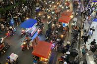 Food carts are seen on the street during an anti-government protest in Bangkok