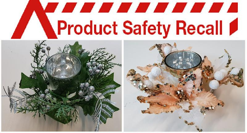 Product recall: Big W Christmas decoration wreath candle holder could be a fire danger.