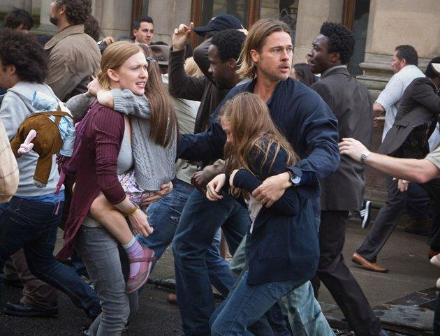 Mireille Enos, left, and Brad Pitt in 'World War Z'