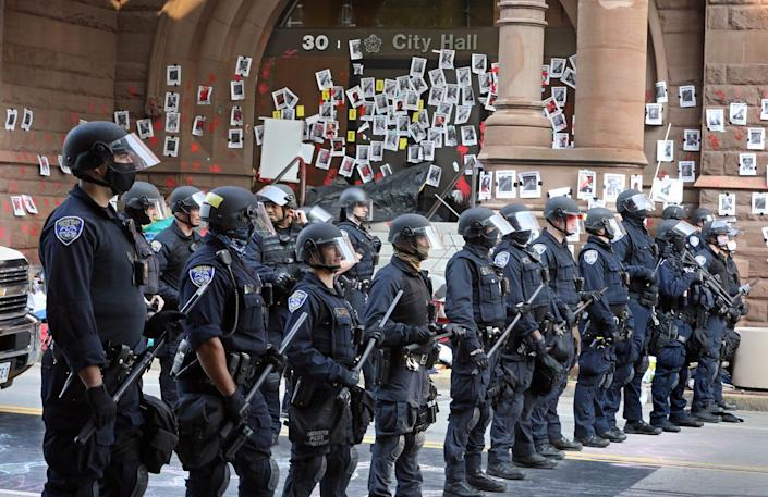 Police at City Hall in Rochester, New York, on Sept. 16, 2020.