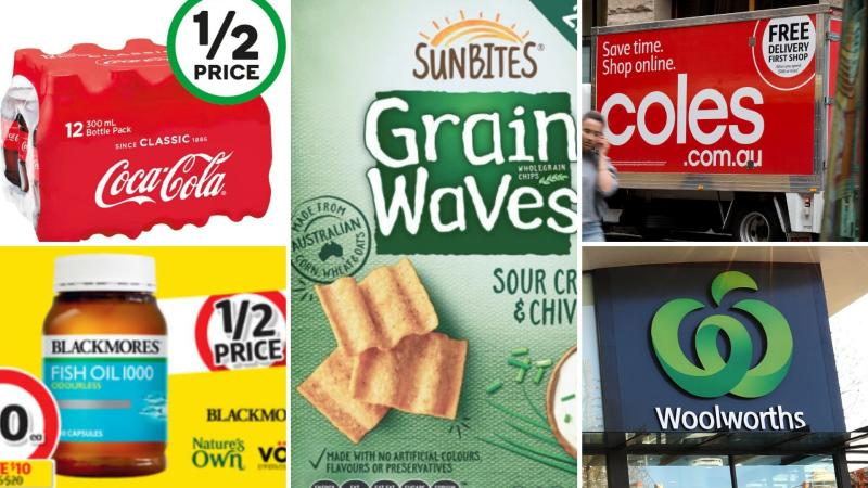 Soft drink, vitamins and chips on sale for half-price at Coles and Woolworths this week.