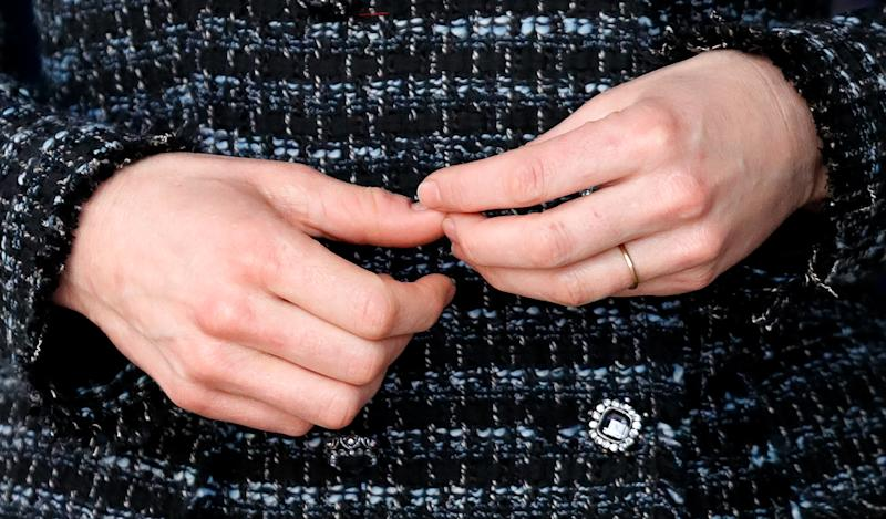 Catherine, Duchess of Cambridge (hand and wedding ring detail) joins a workshop run by the National Portrait Gallery's Hospital Programme at Evelina Children's Hospital on January 28, 2020 in London, England. HRH is Patron of Evelina London Children's Hospital and Patron of the National Portrait Gallery.