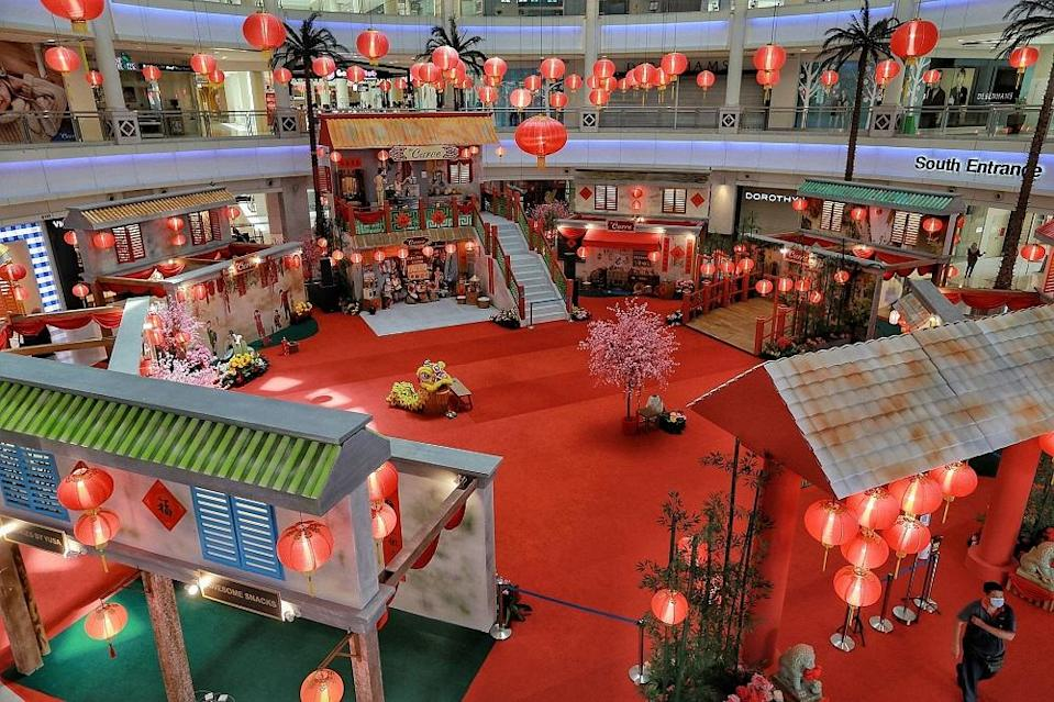 Chinese New Year decorations are seen at The Curve in Petaling Jaya February 6, 2021. — Picture by Ahmad Zamzahuri