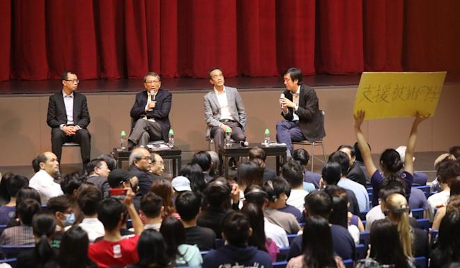 Vice-Chancellor Rocky Tuan Sung-chi (second left) of Chinese University on Thursday meets students and alumni for a dialogue session in Sha Tin. Photo: K.Y. Cheng