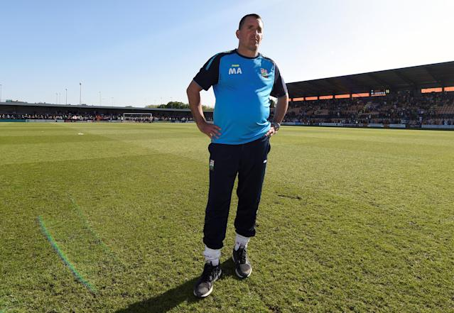 "Soccer Football - League Two - Barnet vs Chesterfield - The Hive, London, Britain - May 5, 2018 Barnet manager Martin Allen looks dejected after the match as they are relegated from the Football League Action Images/Adam Holt EDITORIAL USE ONLY. No use with unauthorized audio, video, data, fixture lists, club/league logos or ""live"" services. Online in-match use limited to 75 images, no video emulation. No use in betting, games or single club/league/player publications. Please contact your account representative for further details."