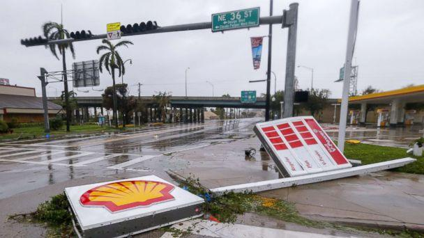 PHOTO: A gas station sign lies along Biscayne Boulevard after Hurricane Irma struck in Miami, Sept. 10, 2017. (Erik S. Lesser/EPA)