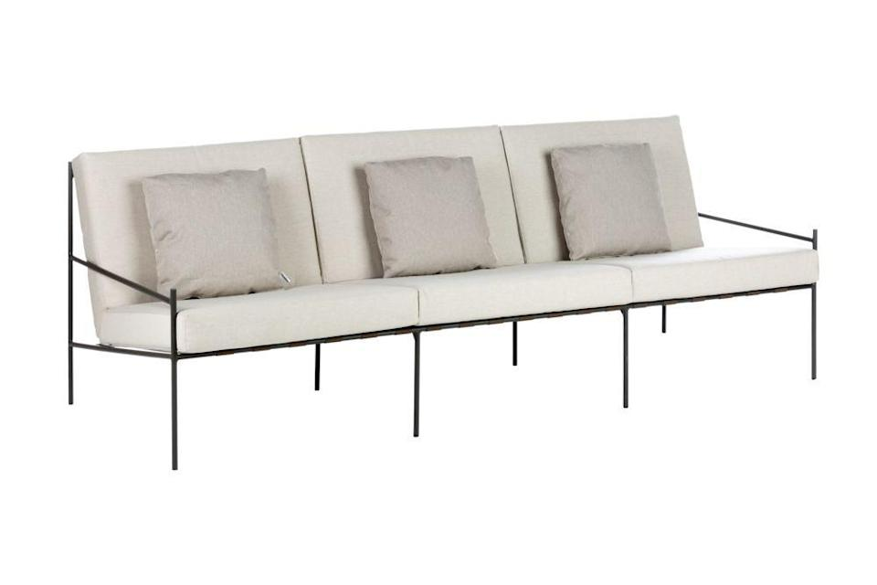 """<p>Classic and elegant in its style, this sofa's slimline aluminium frame was intended by designer Francesca Rifé to create a visual lightness. Available as a two-seater or three-seater. £1,650, <a href=""""https://www.gomodern.co.uk/min-garden-sofa-1.html"""" rel=""""nofollow noopener"""" target=""""_blank"""" data-ylk=""""slk:Go Modern"""" class=""""link rapid-noclick-resp"""">Go Modern</a><br></p>"""