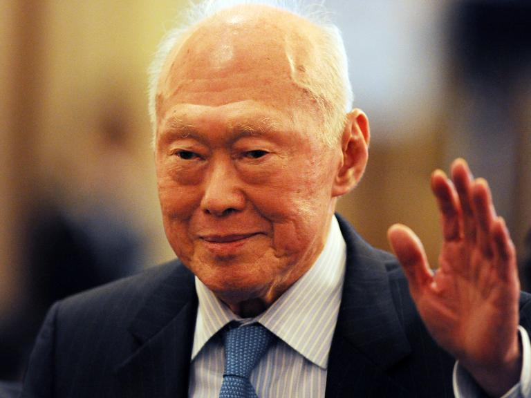 Former Singapore Prime Minister Lee Kuan Yew in Tokyo on May 26, 2011