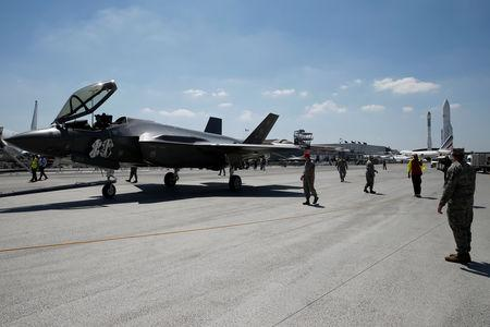F-35 Lightning II aircraft is moved on the eve of the 52nd Paris Air Show at Le Bourget, Paris