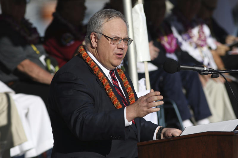 U.S. Interior Secretary David Bernhardt speaks during a ceremony to mark the 78th anniversary of the Japanese attack on Pearl Harbor, Saturday, Dec. 7, 2019 at Pearl Harbor, Hawaii. Survivors and members of the public gathered in Pearl Harbor to remember those killed when Japanese planes bombed the Hawaii naval base 78 years ago and launched the U.S. into World War II. About a dozen survivors of the attack attended the annual ceremony, the youngest of whom are now in their late 90s. (AP Photo/Caleb Jones)