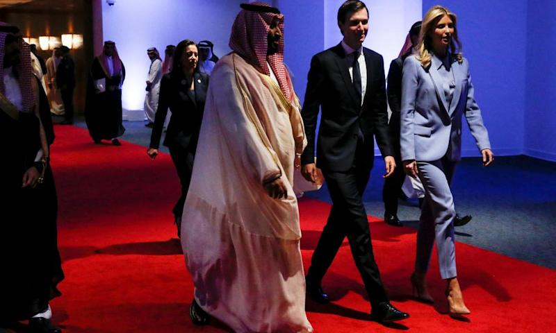 Crown Prince Mohammed bin Salman of Saudi Arabia with Jared Kushner and Ivanka Trump in Riyadh, Saudi Arabia, in May 2017.