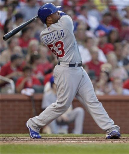 Chicago Cubs' Welington Castillo (53) follows through on a solo home run in the third inning of a baseball game against the St. Louis Cardinals, Thursday, June 20, 2013, in St. Louis. (AP Photo/Tom Gannam)