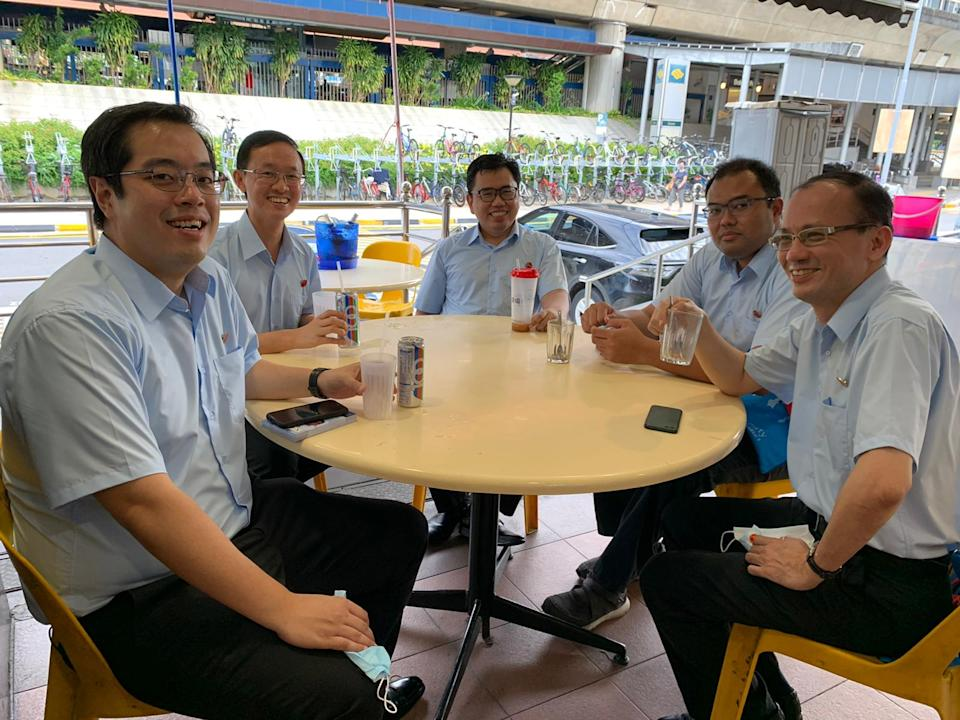 The Worker's Party team contesting Marine Parade GRC comprises (L-R) Ron Tan, 35; Nathaniel Koh, 36; Fadli Fawzi, 39; Azhar Abdul Latip, 33; and Yee Jenn Jong, 55. PHOTO: Nicholas Yong/Yahoo News Singapore
