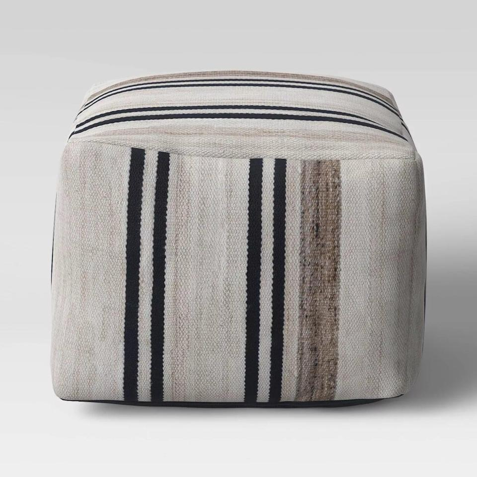 <p>Make your outdoor seating feel extra cozy with the <span>Cube Style Pouf Marled Stripe</span> ($80).</p>