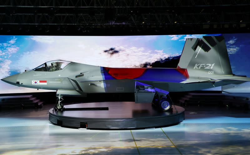 The country's first homegrown fighter jet called KF-21 is unveiled during its rollout ceremony in Sacheon