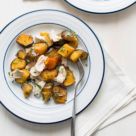 "<p>Perfect as a holiday side or, paired with a nice green salad, as a quick and healthy weeknight meal, this cold-weather twist on traditional chicken salad is sure to satisfy.</p><p><a href=""https://www.foodandwine.com/recipes/healthy-chicken-and-roasted-acorn-squash"">GO TO RECIPE</a></p>"