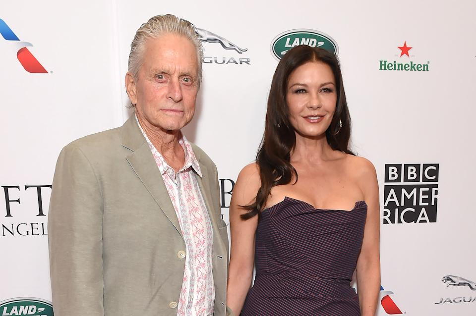 Michael Douglas and English actress Catherine Zeta-Jones attend the BAFTA Los Angeles + BBC America TV Tea Party at Beverly Hilton Hotel in Los Angeles, California, on September 21, 2019. (Photo by LISA O'CONNOR / AFP via Getty Images)