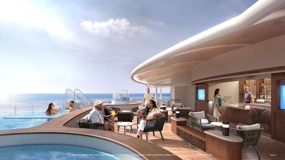 <p>Adults will indulge in sun-drenched serenity at Quiet Cove, a peaceful refuge dedicated to lounging, sipping and soaking. Set away from the bustle of family activities, this secluded adults-only district will feature a luxurious infinity pool, poolside bar and chic cafe. (Disney)</p>
