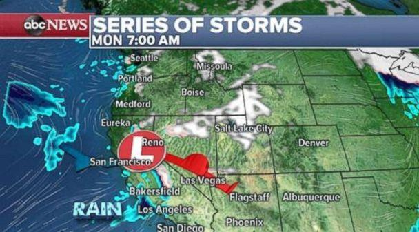 PHOTO: Another weaker system will move onto the West Coast on Monday morning with some rain likely in Southern California. (ABC News)