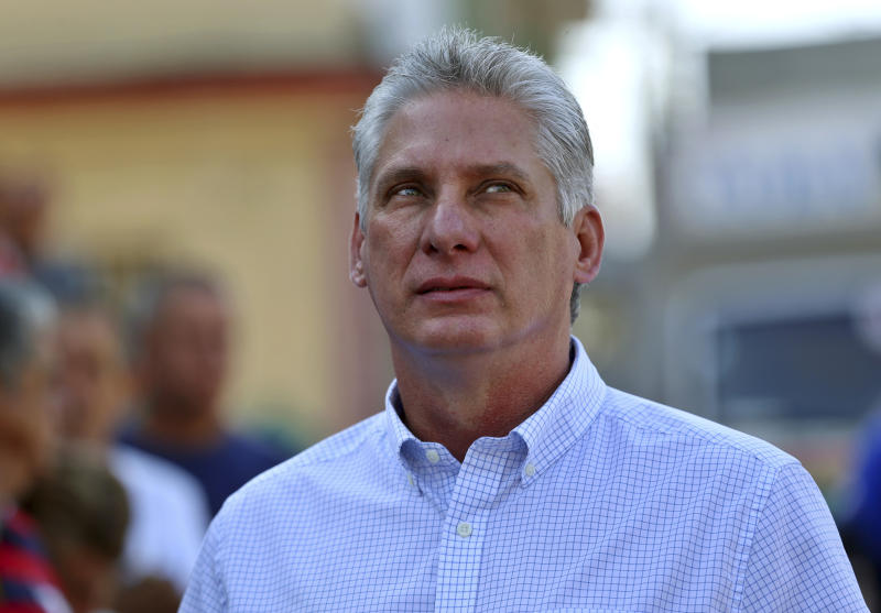 Cuba's Vice President Miguel Diaz-Canel waits in line to vote during elections for national and provincial representatives for the National Assembly in Santa Clara, Cuba, Sunday, March 11, 2018. (Alejandro Ernesto/Pool Photo via AP)