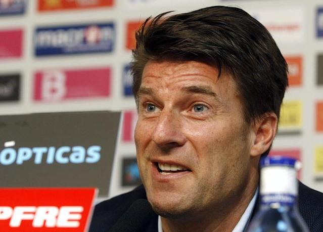(FILES) In a file picture taken on July 2, 2010 Michael Laudrup, then Mallorca's coach, talks to the press during his presentation at the Ono Stadium in Palma de Mallorca. Denmark legend Michael Laudrup was on June 15, 2012 named as Swansea's new manager, the Premier League club announced. AFP PHOTOSTR/AFP/GettyImages