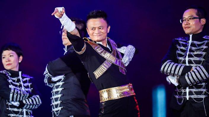 Jack Ma, founder of China's e-commerce giant Alibaba, dressed as Michael Jackson at a party celebrating the 18th anniversary of Alibaba Group in 2017.