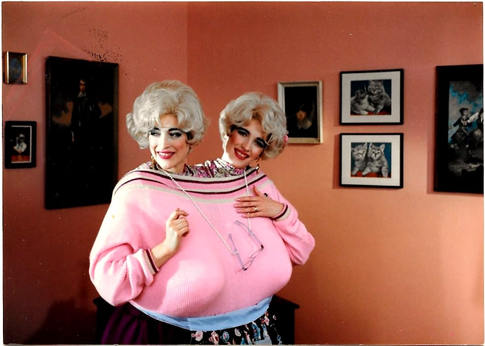 "Linda and Terry Jamison appear as the two headed housewife on NBC's ""Saturday Night Live"". (Image: Saturday Night Live)"