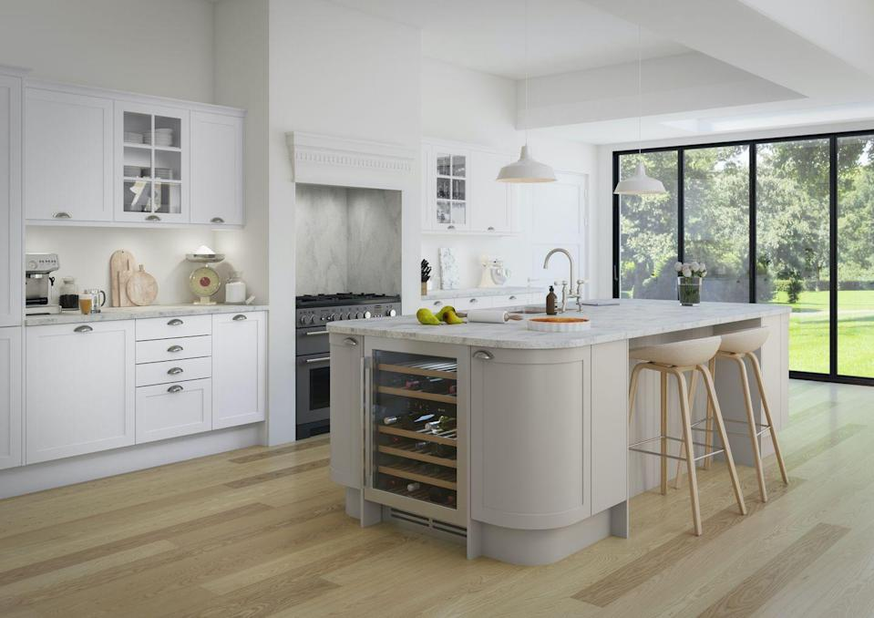 """<p>One of the biggest appeals of a kitchen island is the additional storage it provides. Whether it's ample <a href=""""https://www.housebeautiful.com/uk/decorate/kitchen/g35138029/kitchen-cupboard-paint/"""" rel=""""nofollow noopener"""" target=""""_blank"""" data-ylk=""""slk:cupboards"""" class=""""link rapid-noclick-resp"""">cupboards</a> or a whip-smart wine fridge, don't forget to think about how you can cleverly maximise your kitchen island.</p><p>• 'Dunham' kitchen in grey from <a href=""""https://www.magnet.co.uk/kitchens/all-kitchens/dunham/"""" rel=""""nofollow noopener"""" target=""""_blank"""" data-ylk=""""slk:Magnet Kitchens"""" class=""""link rapid-noclick-resp"""">Magnet Kitchens</a> </p>"""