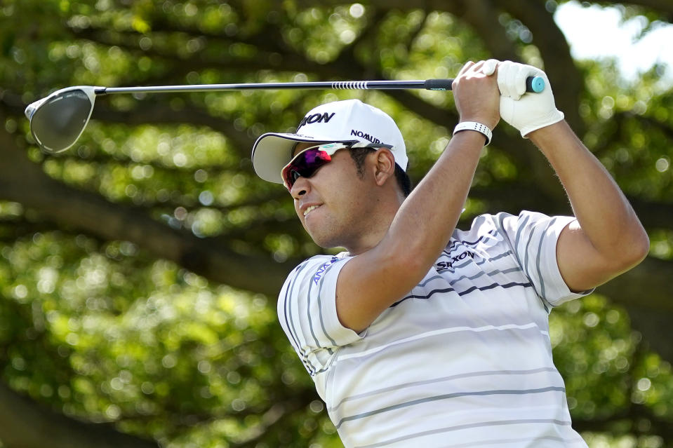 Hideki Matsuyama hits from the second tee during the first round of the Sony Open PGA Tour golf event, Thursday, Jan. 9, 2020, at Waialae Country Club in Honolulu. (AP Photo/Matt York)