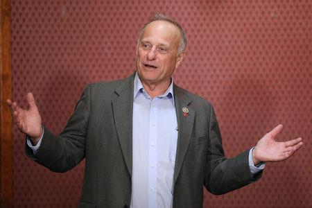 FILE PHOTO: Republican Rep. King talks to voters in Webster City