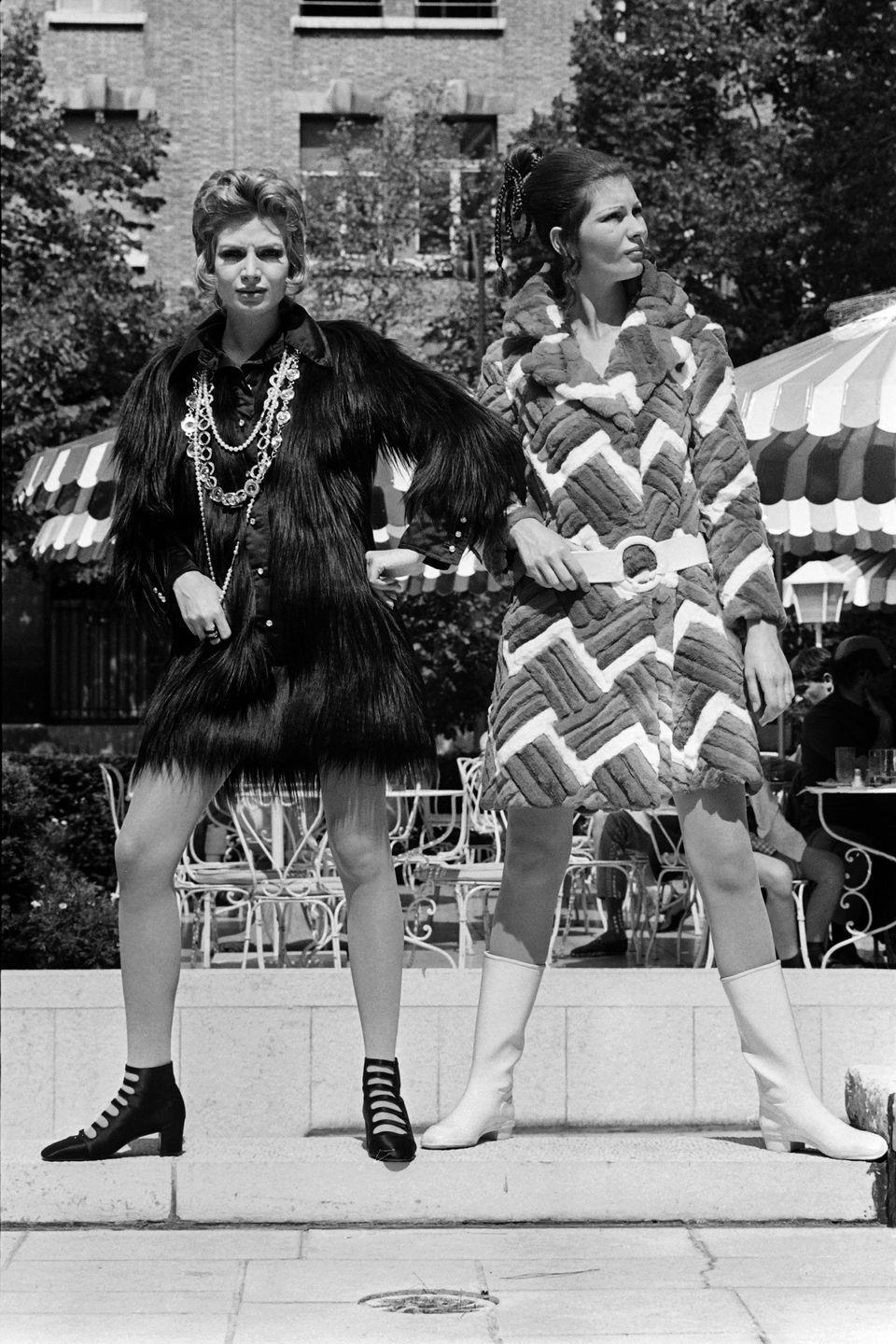 <p>By the end of the '60s, coats were shorter and no longer exclusively wool or argyle. Hair was taller, belts abundant, and leather boots entering the fold. This progression is on full-display in Dominique Chombert's fall/winter collection.<br></p>